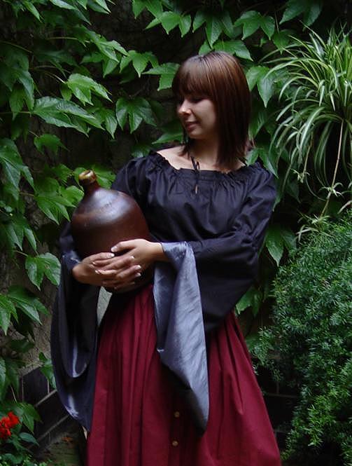 Mittelalter Bluse schwarz silber