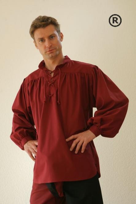 Mittelalterhemd Baumwolle Rot