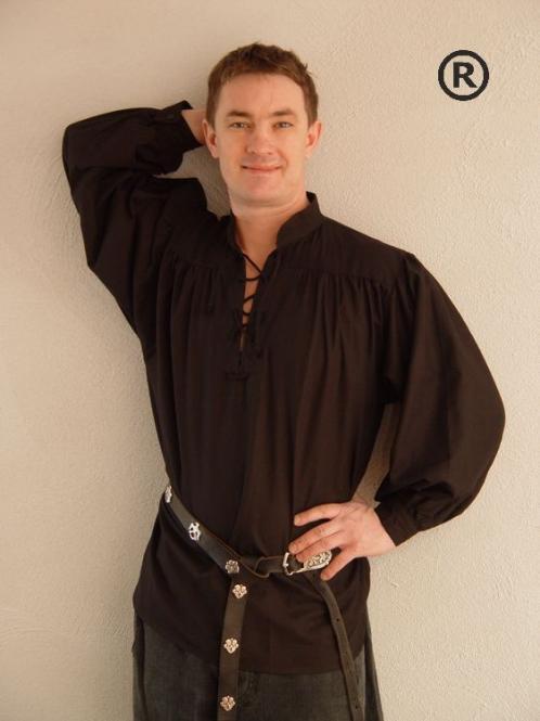 Mittelalterhemd Baumwlle schwarz