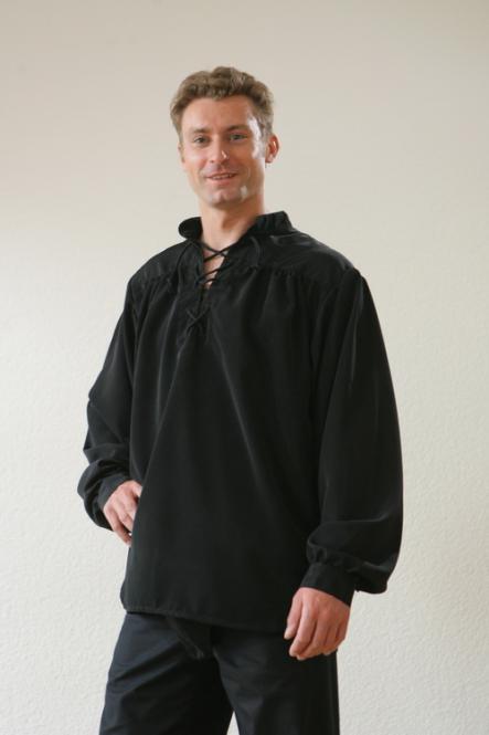 Seidenhemd schwarz Mittelalterhemd