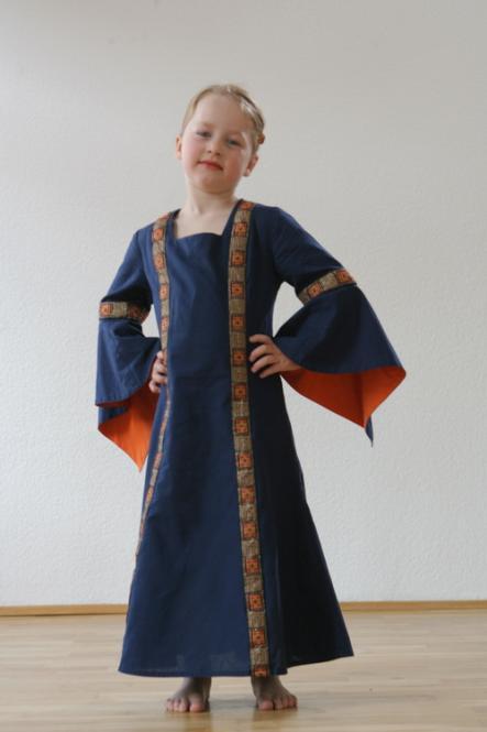 Kinderkleid Rahel blau lachs