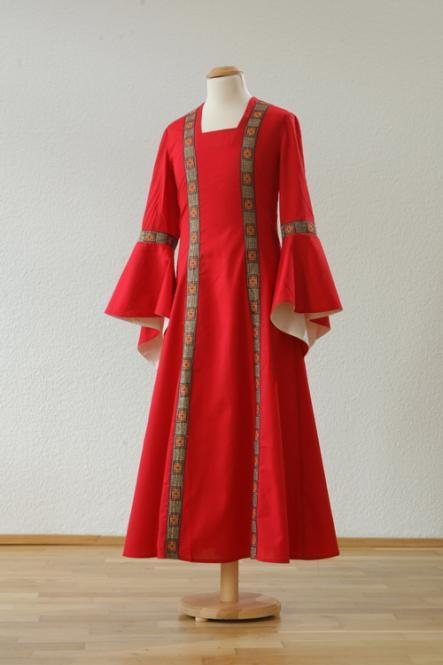 Kinderkleid Rahel rot natur