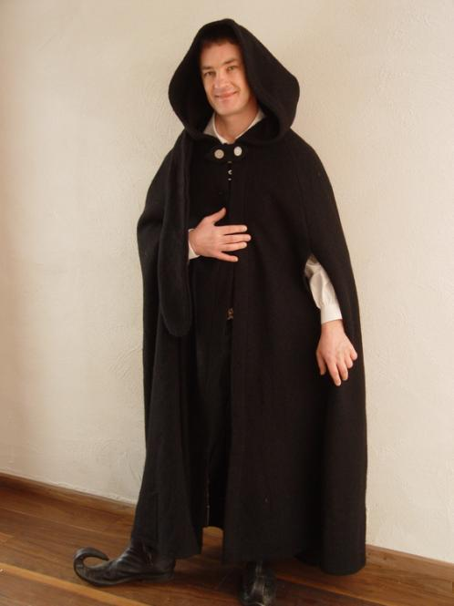 Mittelalter Umhang Walkloden schwarz