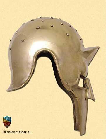 Bild  Gladiator Arena Helm Messing mit Lederinlay