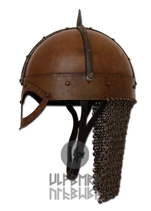 Bild  Gjermundbu Helm mit vernieteter Brünne Stahl