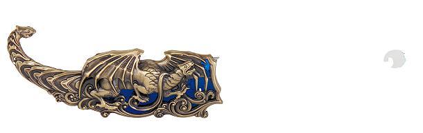 Blue Dragon  Fantasiemesser  reich verziert mit Drachenfiguren.  Mit Scheide. Gesamtlänge 40 cm  Klingen aus 420 rostfreiem Stahl gehärtet.