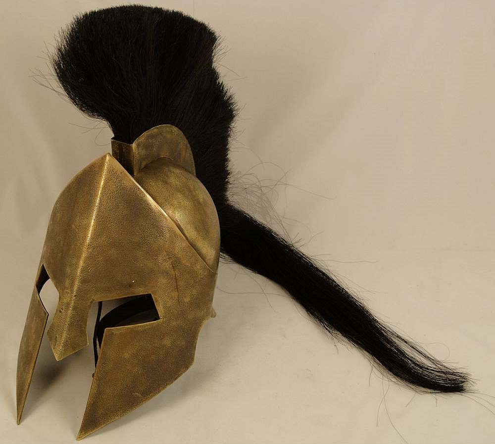 Spartaner-Helm Messing mit Helmbusch