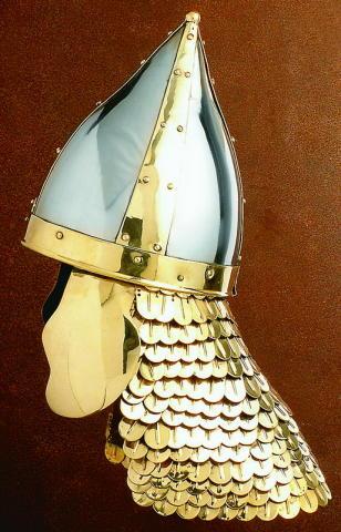 Bogenschützenhelm mit Schuppenbrüne